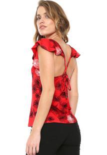 Blusa Enfim Estampada Vermelha