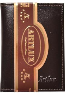 Carteira Compacta Masculina De Couro - Masculino-Marrom