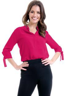 Camisa 101 Resort Wear Lisa Crepe Polo Laco Mangas 34 Pink