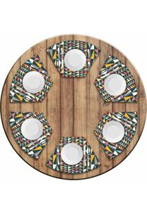 Jogo Americano Love Decor Para Mesa Redonda Wevans Geometric Colors Kit Com 6 Pçs