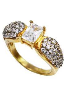 Anel Sociéte Com Pedra Cristal Cravejado Com Mini Cristais Banhado A Ouro 18K