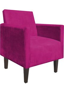 Poltrona Decorativa Compacta Jade Suede Pink Com Pés Baixo Chanfrado - D'Rossi