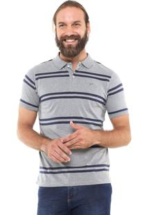 Camisa Polo Yachtsman Reta Listrada Cinza/Azul-Marinho
