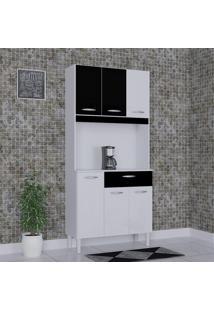 Cozinha Compacta 6 Portas 1 Gaveta Kit Cássia 6172 Branco/Preto - Poquema