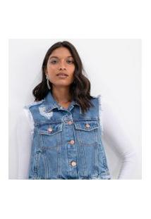 Colete Cropped Jeans Com Puídos E Desfiados | Blue Steel | Azul | M