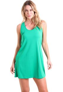 Vestido Liquido Costas Transpassada Cores Verde Musgo M