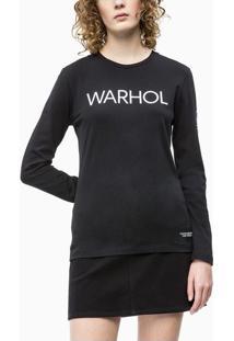 Blusa Ckj Fem Ml Andy Warhol Logo - Preto - Pp