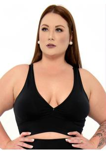 Top Plus Size Bojo Removivel Strappy Preto