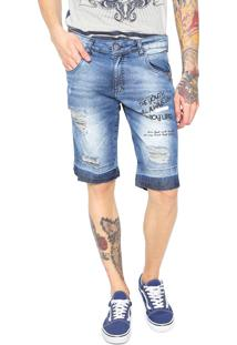 Bermuda Jeans Rock&Soda Slim Destroyed Azul