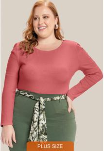 Blusa Plus Size Decote Redondo Rosa