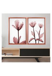 Quadro Com Moldura Chanfrada Flores Rose Rose Metalizado - Grande