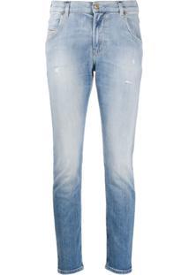 Diesel Calça Jeans Skinny Com Efeito Destroyed - Azul