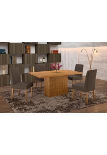Conjunto De Mesa De Jantar Com 6 Cadeiras E Tampo De Madeira Maciça Arezo Suede Imbuia Rustic E Grafite