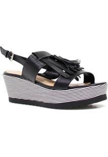 Sandália Zariff Shoes Plataforma Barbicacho Preto