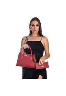 Kit Bolsa + Carteira Feminina Fashion Blogueira Vermelho