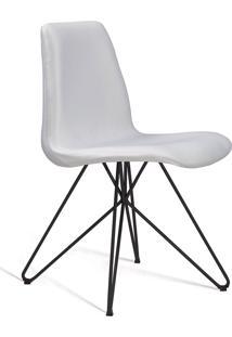 Cadeira Eames Base Aço Carbono Daf Cru Branca