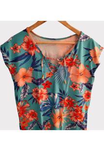 Blusa Estampada Em Viscolycra Plus Size - Azul/Laranja - Feminino - Dafiti