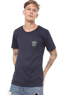 Camiseta Ed Hardy Black Rose Bleeding Azul-Marinho