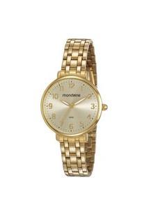 Kit De Relógio Feminino Mondaine Analógico - 53779Lpmvde1Kd + Pulseira Dourado