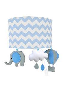 Arandela Meia Lua Elefante Baláo Azul Quarto Bebê Infantil Menino