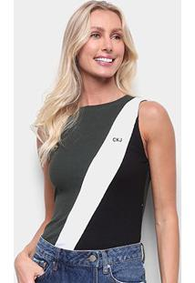 Body Calvin Klein Tricolor Feminino - Feminino-Verde Militar