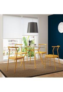 Mesa 1527 Vidro Incolor Com 4 Cadeiras 1708 Amarelo Ouro Carraro