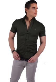 Camisa Horus Social Manga Curta Slim Verde Musgo