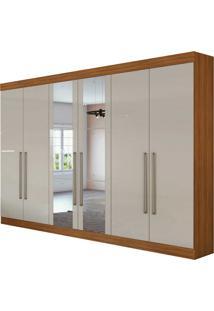 Guarda Roupa Casal C/ Espelho 6 Portas 4 Gavetas Castellaro Rovere Naturale/Off White Lopas - Off-White - Dafiti