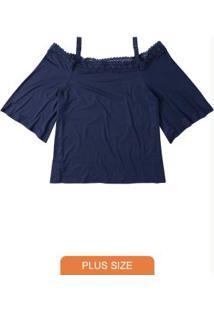 Blusa Azul Escuro Com Renda