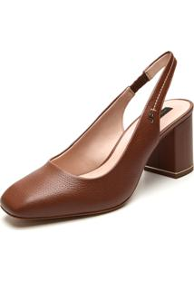 Scarpin Couro Jorge Bischoff Liso Caramelo