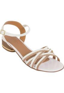 Sandália Salto Baixo Branca Com Brilho