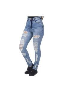 Calça Jeans Slim Destroyed Feminina Indy