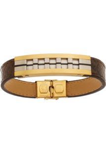 Bracelete De Aço Inox Tudo Jóias Com 13Mm De Largura Gold
