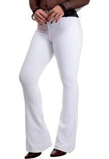 Calça Miss Blessed Flare Confort Cintura Alta Off White
