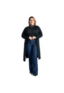 Cardigan Kimono Longo Plus Size Juquitiba Brasil Preto