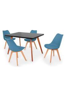Conjunto Mesa De Jantar Gih 120X80Cm Preta Com 4 Cadeiras Leda - Turquesa