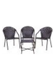 Conjunto Mesa Baixa E 3 Cadeiras Para Área Edicula Jardim Biquini Ferro E Fibra Tabaco