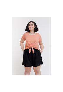 Camiseta Cropped Almaria Plus Size Tal Qual Nó Frontal Laranja