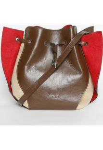 Bolsa Com Recortes - Marrom & Vermelha- 28X42X14Cgriffazzi