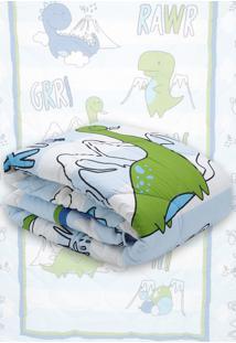 Edredom Solteiro Lepper Dino Azul Claro 1,50 X 2,10