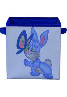 Caixa Organizadora De Brinquedos Organibox Coelho Branca/Azul