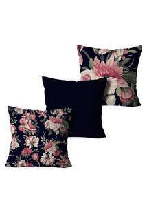 Kit 3 Capas Para Almofadas Decorativas Love Decor Floral Marinho
