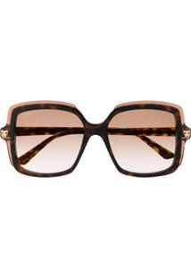 Cartier Square Frame Tinted Sunglasses - Marrom