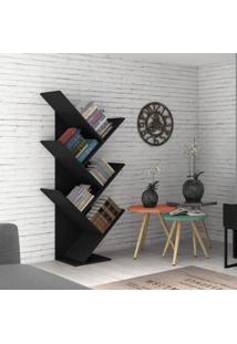 Estante Para Livros Diagonal Spine Siena Móveis Preto