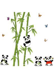 Adesivo De Parede Bamboo Panda- Verde & Preto- 60X90Evolux