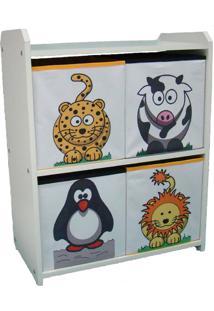 Estante Nicho Com Caixas Estampadas - Leopardo - Leão - Pinguim - Vaquinha