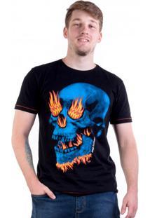 Camiseta Caveira Azul Com Fogo Preta