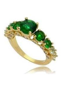 Anel Cristais Bolinha Verde Esmeralda No Banho De Ouro 18K - Feminino-Dourado