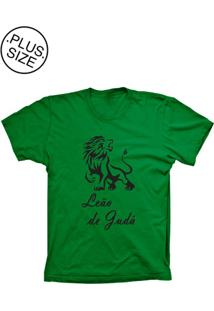 Camiseta Lu Geek Plus Size Leão De Judá Verde