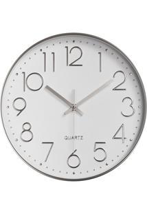 Relógio De Parede 30Cm Branco E Prata